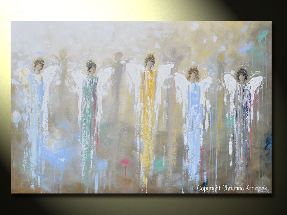 ORIGINAL Abstract 5 Guardian Angels Painting Modern Textured Blue Brown Gold Palette Knife Wall Art - Christine Krainock Art - Contemporary Art by Christine - 6