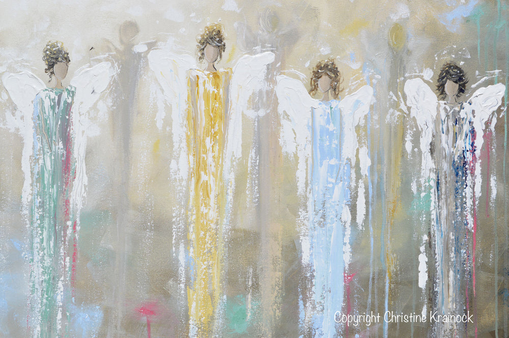 GICLEE PRINT Art Abstract Guardian Angels Painting Angel Wall Art~ Joyful Heart Foundation Charity - Christine Krainock Art - Contemporary Art by Christine - 7