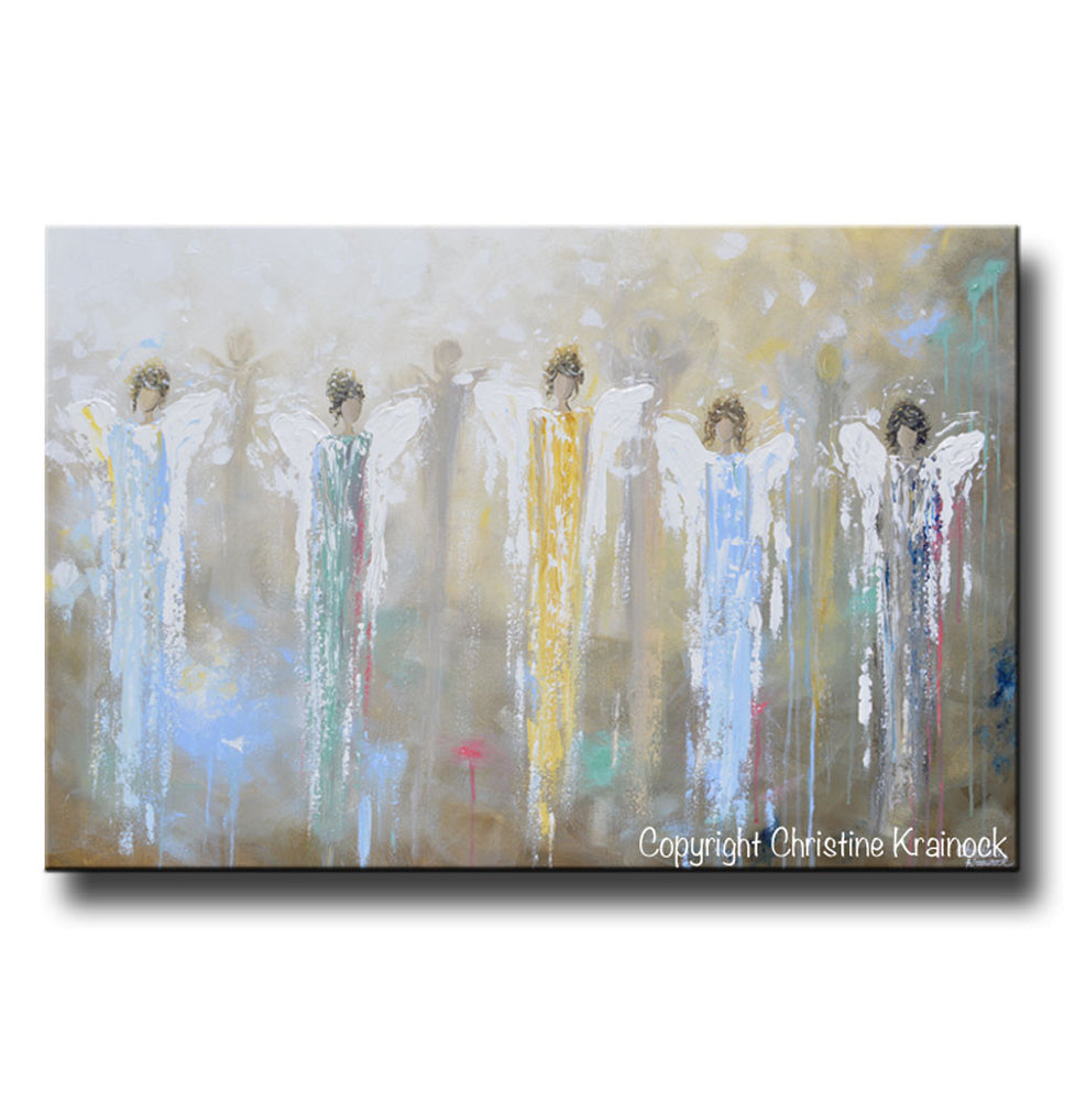 ORIGINAL Abstract 5 Guardian Angels Painting Modern Textured Blue Brown Gold Palette Knife Wall Art - Christine Krainock Art - Contemporary Art by Christine - 3