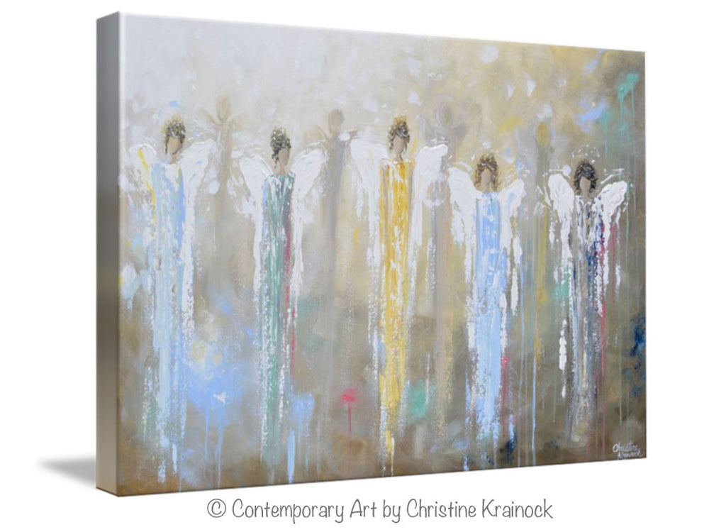 GICLEE PRINT Art Abstract Guardian Angels Painting Angel Wall Art~ Joyful Heart Foundation Charity - Christine Krainock Art - Contemporary Art by Christine - 6