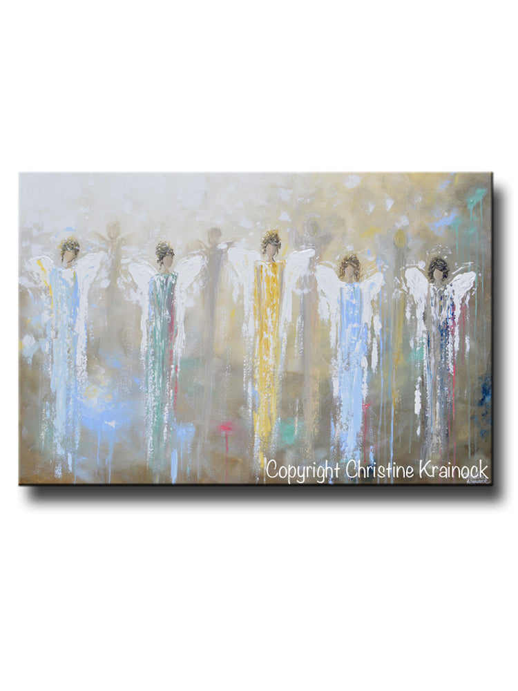 ORIGINAL Abstract 5 Guardian Angels Painting Modern Textured Blue Brown Gold Palette Knife Wall Art - Christine Krainock Art - Contemporary Art by Christine - 1