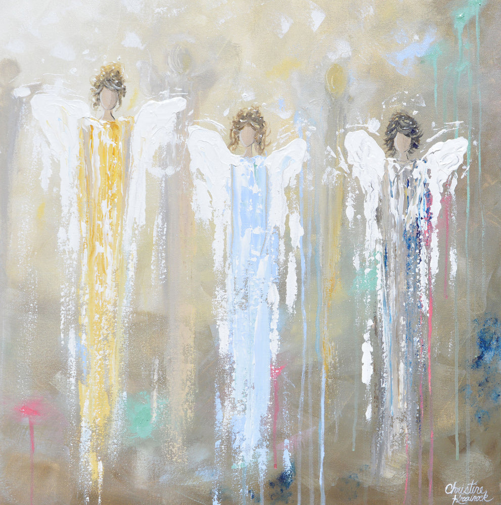 GICLEE PRINT Art Abstract Guardian Angels Painting Angel Wall Art~ Joyful Heart Foundation Charity - Christine Krainock Art - Contemporary Art by Christine - 3