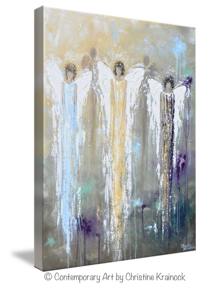GICLEE PRINT Abstract Angel Painting 3 Guardian Angels Blue Gold Inspirational Spiritual Wall Art - Christine Krainock Art - Contemporary Art by Christine - 5