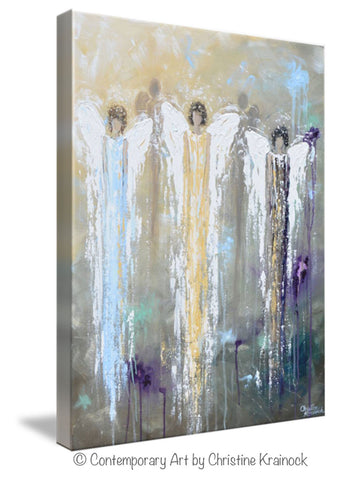 Spiritual Wall Art giclee print abstract angel painting 3 guardian angels blue gold