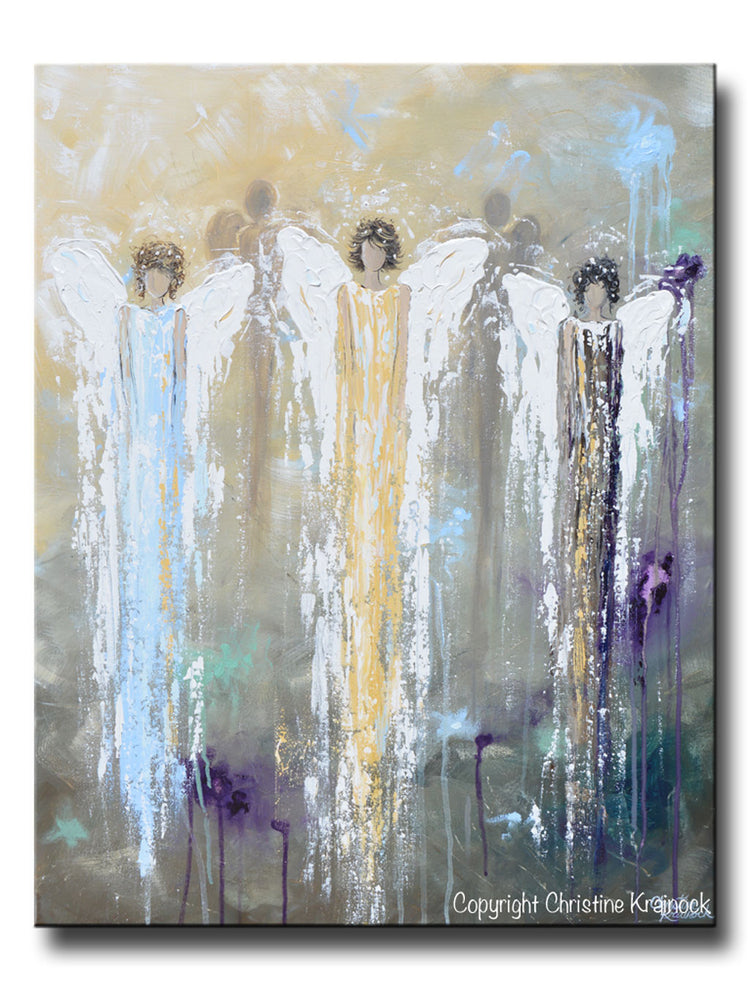 GICLEE PRINT Abstract Angel Painting 3 Guardian Angels Blue Gold Inspirational Spiritual Wall Art