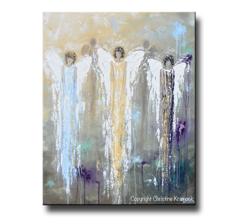 GICLEE PRINT Abstract Angel Painting 3 Guardian Angels Blue Gold Inspirational Spiritual Wall Art - Christine Krainock Art - Contemporary Art by Christine - 4