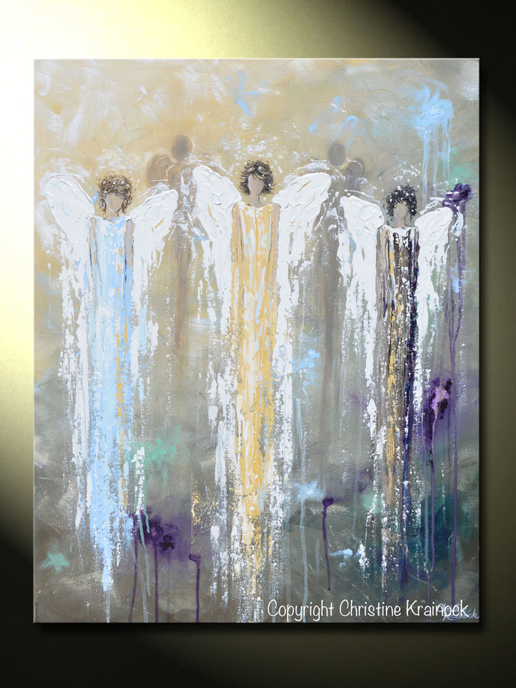 GICLEE PRINT Abstract Angel Painting 3 Guardian Angels Blue Gold Inspirational Spiritual Wall Art - Christine Krainock Art - Contemporary Art by Christine - 6