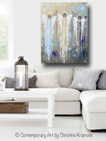 GICLEE PRINT Abstract Angel Painting 3 Guardian Angels Blue Gold Inspirational Spiritual Wall Art - Christine Krainock Art - Contemporary Art by Christine - 2