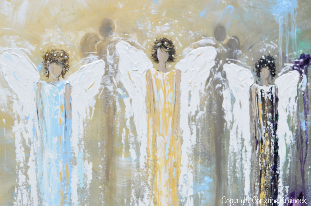 GICLEE PRINT Abstract Angel Painting 3 Guardian Angels Blue Gold Inspirational Spiritual Wall Art - Christine Krainock Art - Contemporary Art by Christine - 3