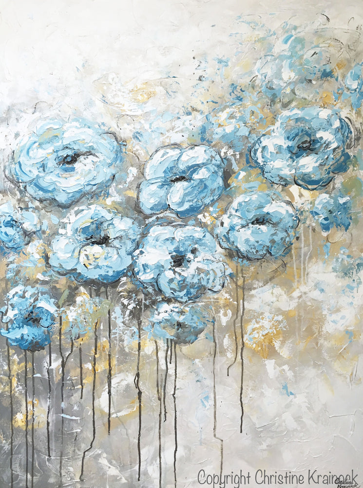ORIGINAL Art Abstract Blue White Floral Painting Flowers LARGE Coastal Grey Gold - Christine Krainock Art - Contemporary Art by Christine - 3