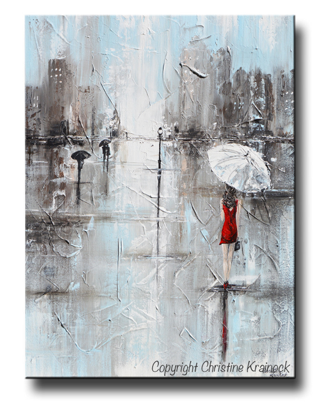 Giclee print art abstract painting girl red umbrella grey for Painting red umbrella
