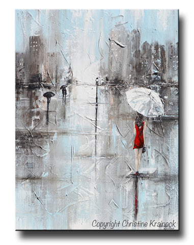 GICLEE PRINT Art Abstract Painting Girl White Umbrella Red Dress Grey Blue City Rain Canvas - Christine Krainock Art - Contemporary Art by Christine - 1