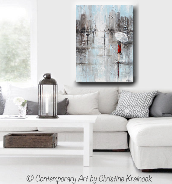 GICLEE PRINT Art Abstract Painting Girl White Umbrella Red Dress Grey Blue City Rain Canvas - Christine Krainock Art - Contemporary Art by Christine - 5