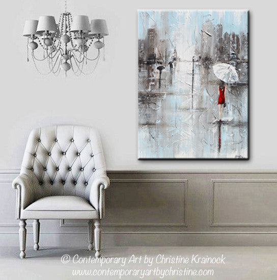 GICLEE PRINT Art Abstract Painting Girl White Umbrella Red Dress Grey Blue City Rain Canvas - Christine Krainock Art - Contemporary Art by Christine - 2