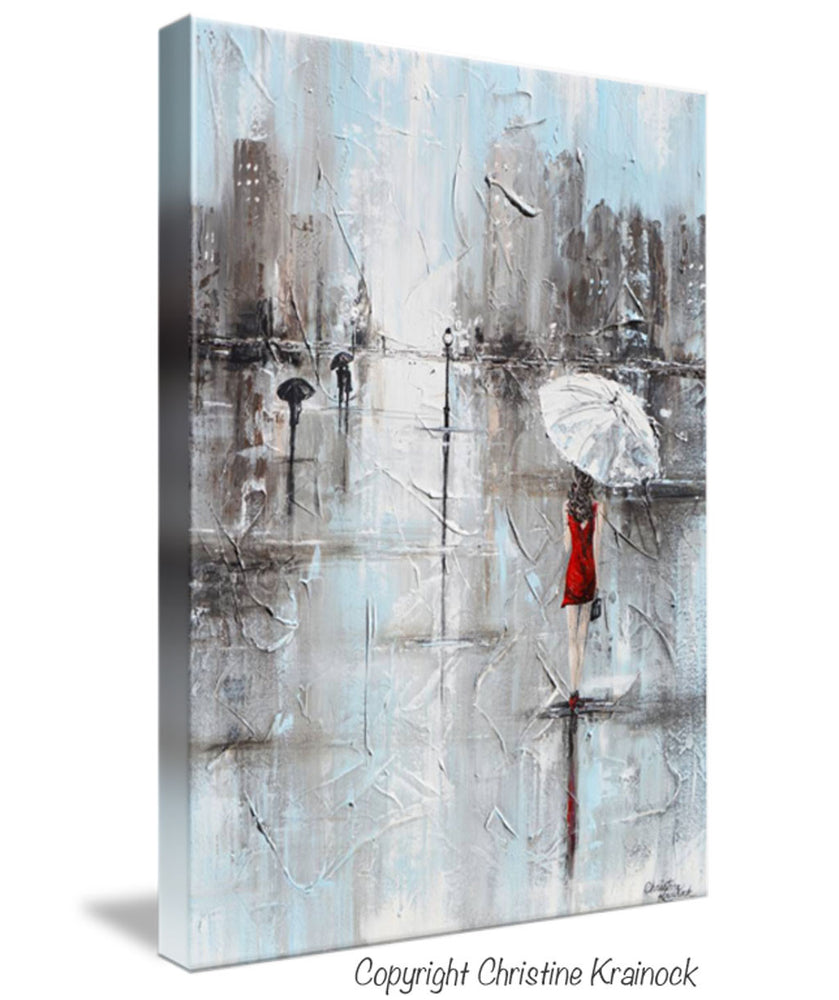 GICLEE PRINT Art Abstract Painting Girl White Umbrella Red Dress Grey Blue City Rain Canvas - Christine Krainock Art - Contemporary Art by Christine - 4