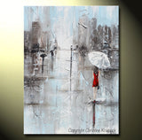 GICLEE PRINT Art Abstract Painting Girl White Umbrella Red Dress Grey Blue City Rain Canvas - Christine Krainock Art - Contemporary Art by Christine - 3