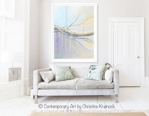 ORIGINAL Art Abstract Painting Blue Gold Grey Large Modern Textured Coastal Wall Art Decor  sc 1 st  Contemporary Art by Christine : large modern wall art - www.pureclipart.com