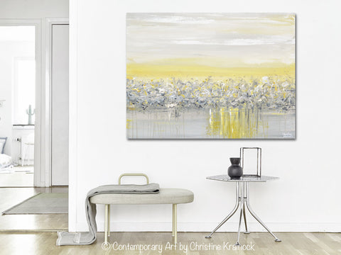 ... GICLEE PRINT Art Yellow Grey Abstract Painting Modern Coastal Horizon Gold White Canvas Wall Art ...  sc 1 st  Contemporary Art by Christine & GICLEE PRINT Art Yellow Grey Abstract Painting Modern Coastal Wall ...