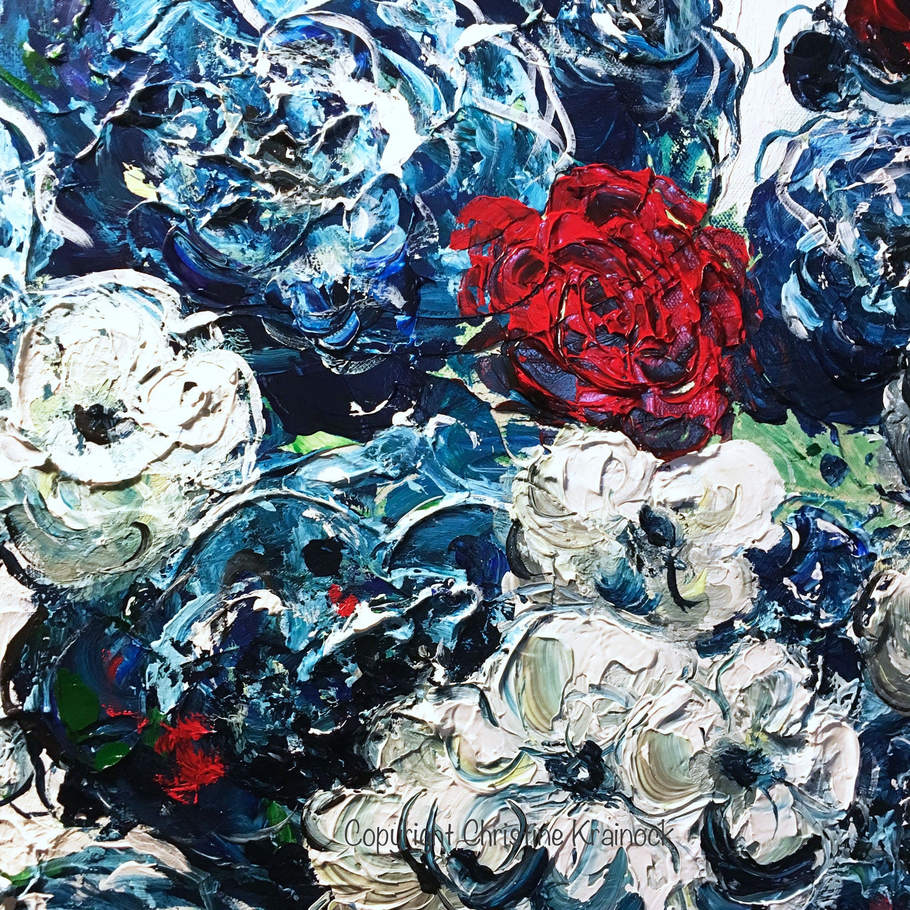 Muted Blue And Floral Red: ORIGINAL Art Abstract Blue Flowers Painting Textured Red