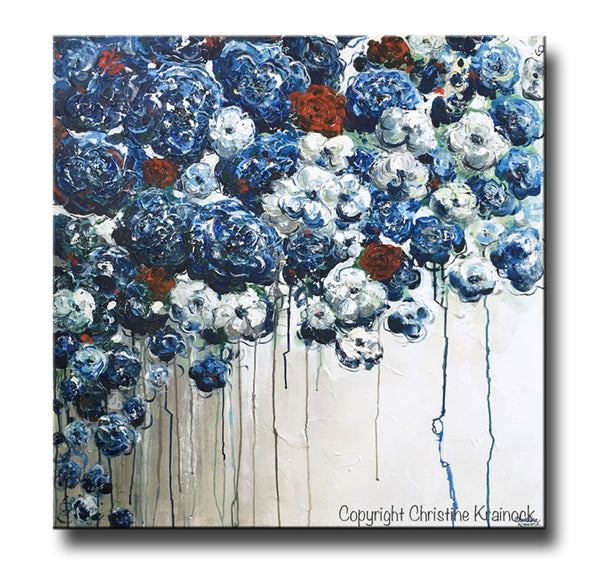 Sold Original Abstract Painting Pearl White Blue Wall Art: ORIGINAL Art Abstract Blue Flowers Painting Textured Red