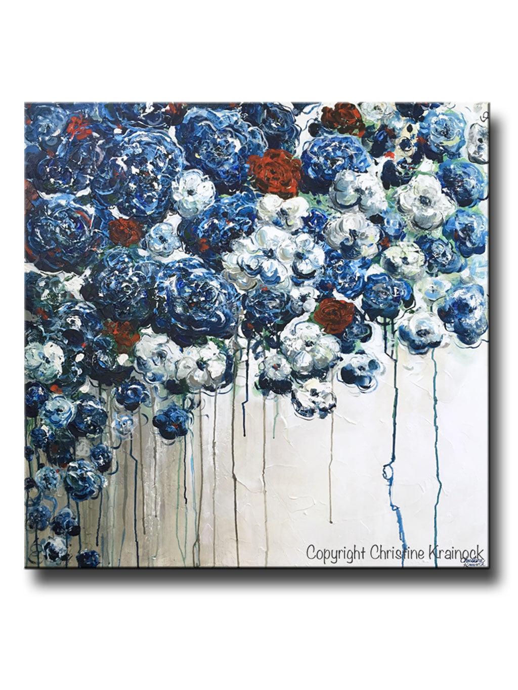 Navy Blue Wall Decor original art abstract blue flowers painting textured red white