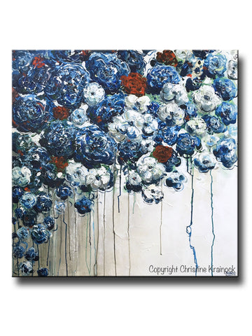 ORIGINAL Art Abstract Blue Flowers Painting Textured Red White Blue Navy Modern Coastal Wall Decor - Christine Krainock Art - Contemporary Art by Christine - 1