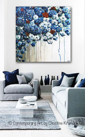 Original Art Abstract Blue Flowers Painting Textured Red White Blue