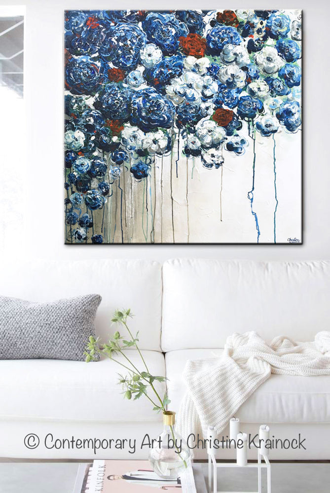 ORIGINAL Art Abstract Blue Flowers Painting Textured Red ...