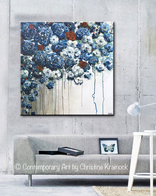 Original Art Abstract Blue Flowers Painting Textured Red