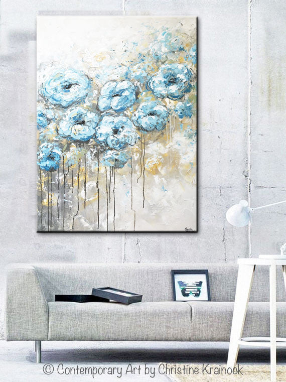 ORIGINAL Art Abstract Blue White Floral Painting Flowers LARGE Coastal Grey Gold - Christine Krainock Art - Contemporary Art by Christine - 4