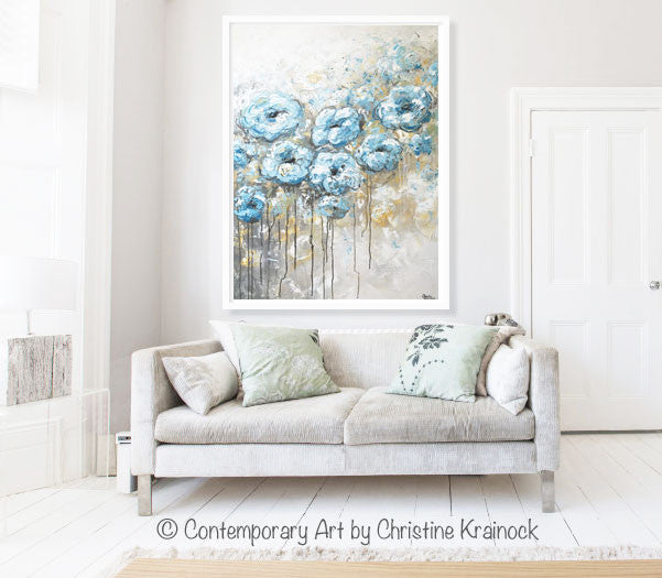 ORIGINAL Art Abstract Blue White Floral Painting Flowers LARGE Coastal Grey Gold - Christine Krainock Art - Contemporary Art by Christine - 7