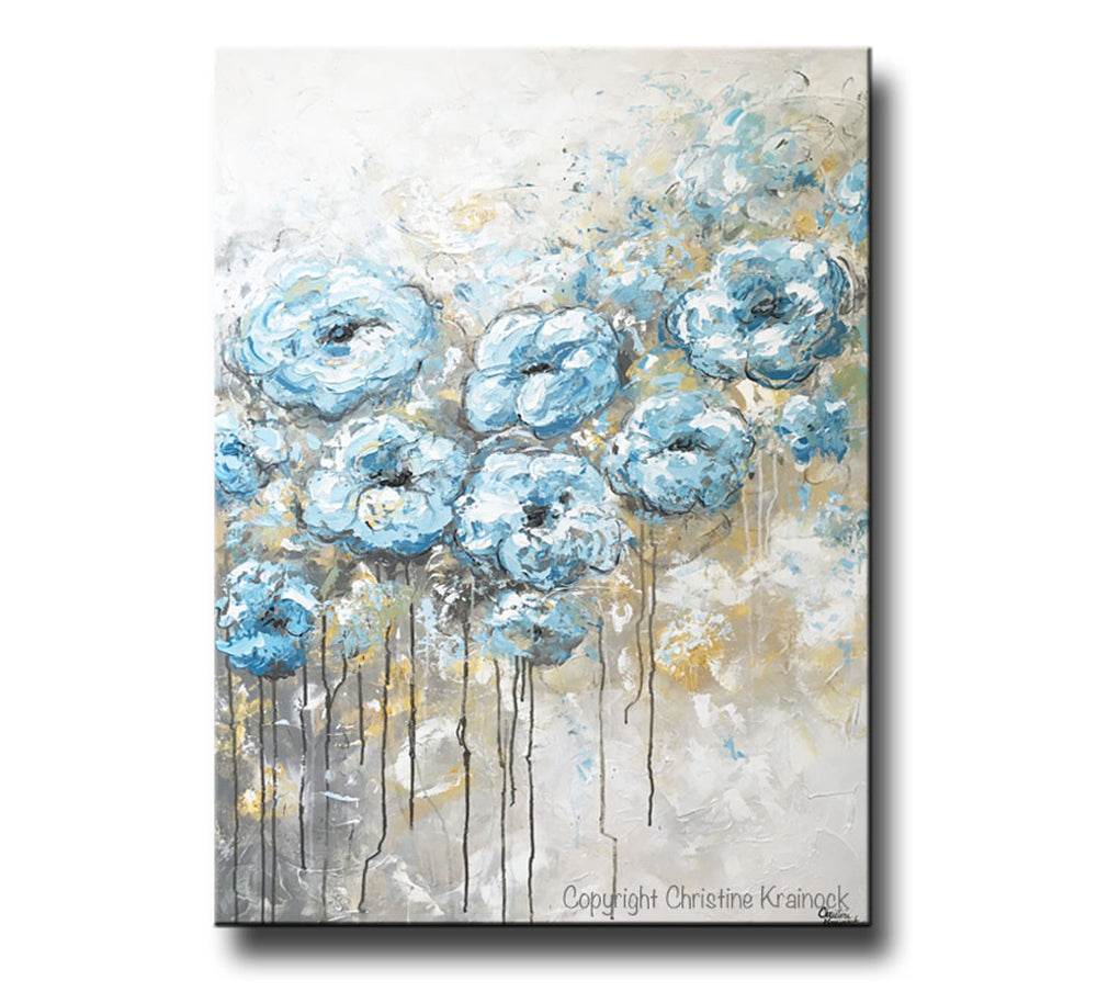 ORIGINAL Art Abstract Blue White Floral Painting Flowers LARGE Coastal Grey Gold - Christine Krainock Art - Contemporary Art by Christine - 6