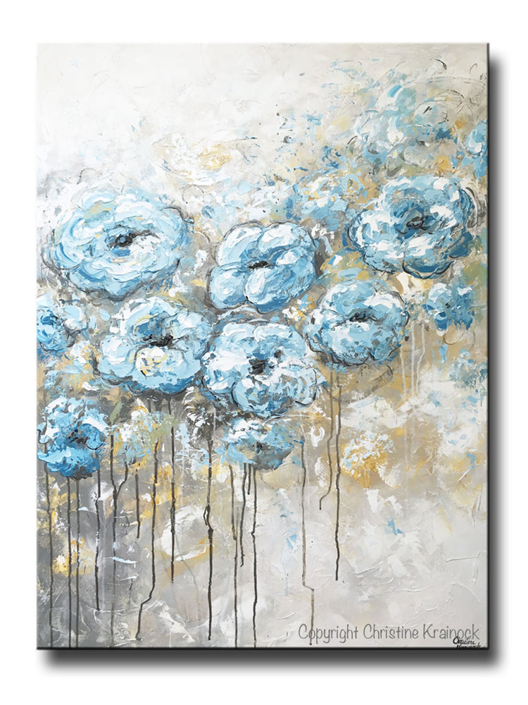 ORIGINAL Art Abstract Blue White Floral Painting Flowers LARGE Coastal Grey Gold