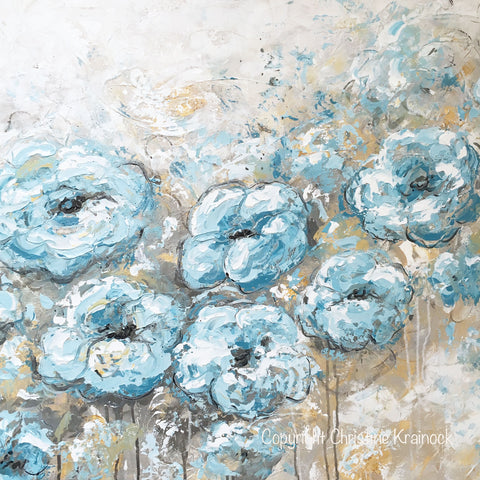 original art abstract flowers painting floral blue white grey wall