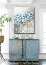 ORIGINAL Art Abstract Blue White Floral Painting Flowers LARGE Coastal Grey Gold - Christine Krainock Art - Contemporary Art by Christine - 2