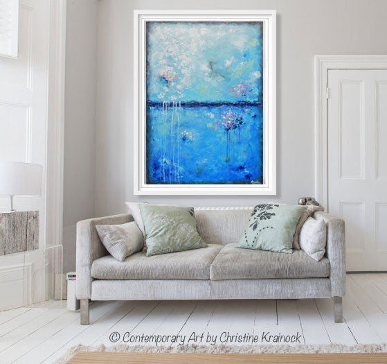 Original Art Blue Abstract Painting Aqua Blue Textured