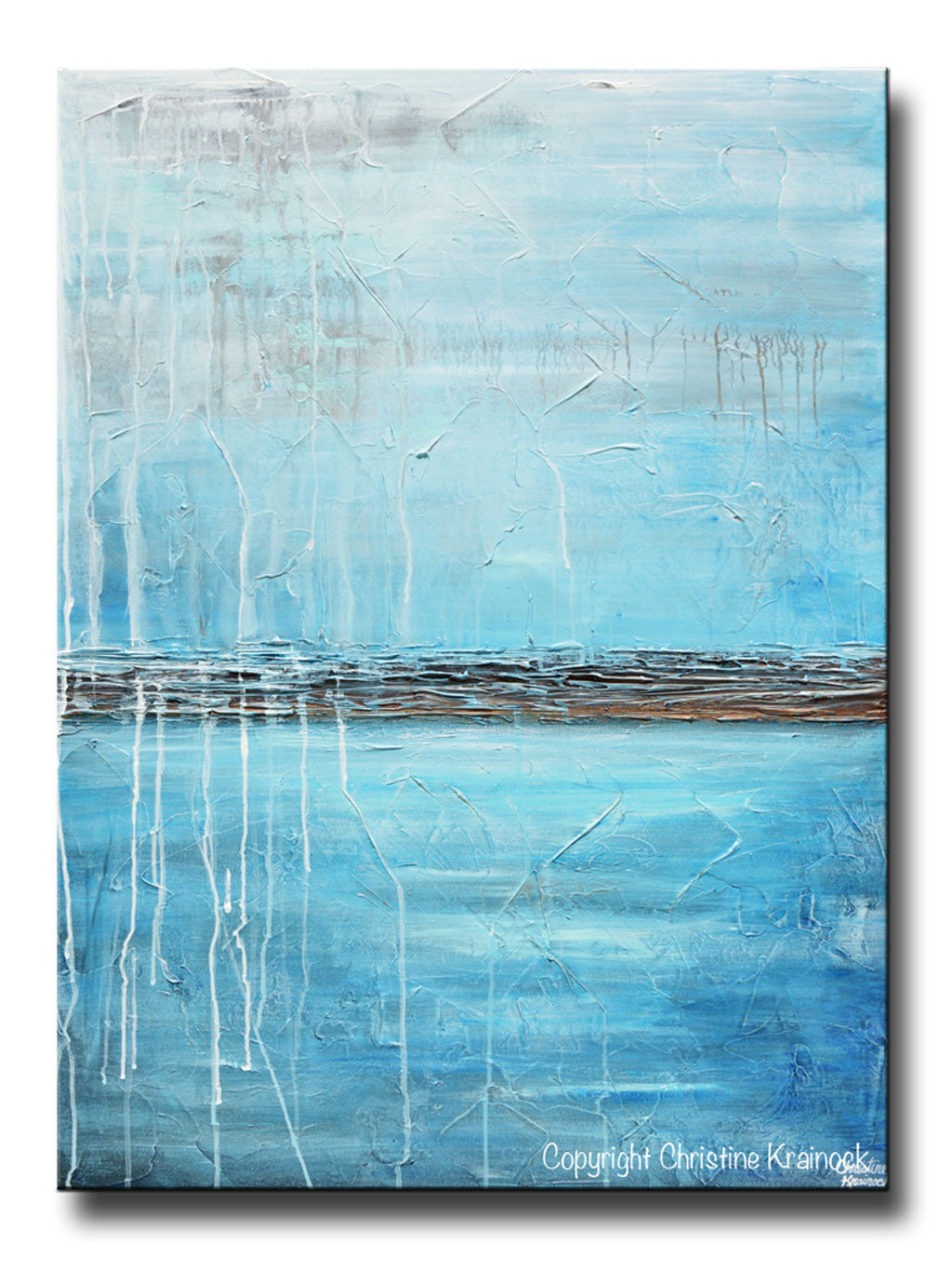 Original art blue abstract painting ocean blue textured for Blue paintings on canvas