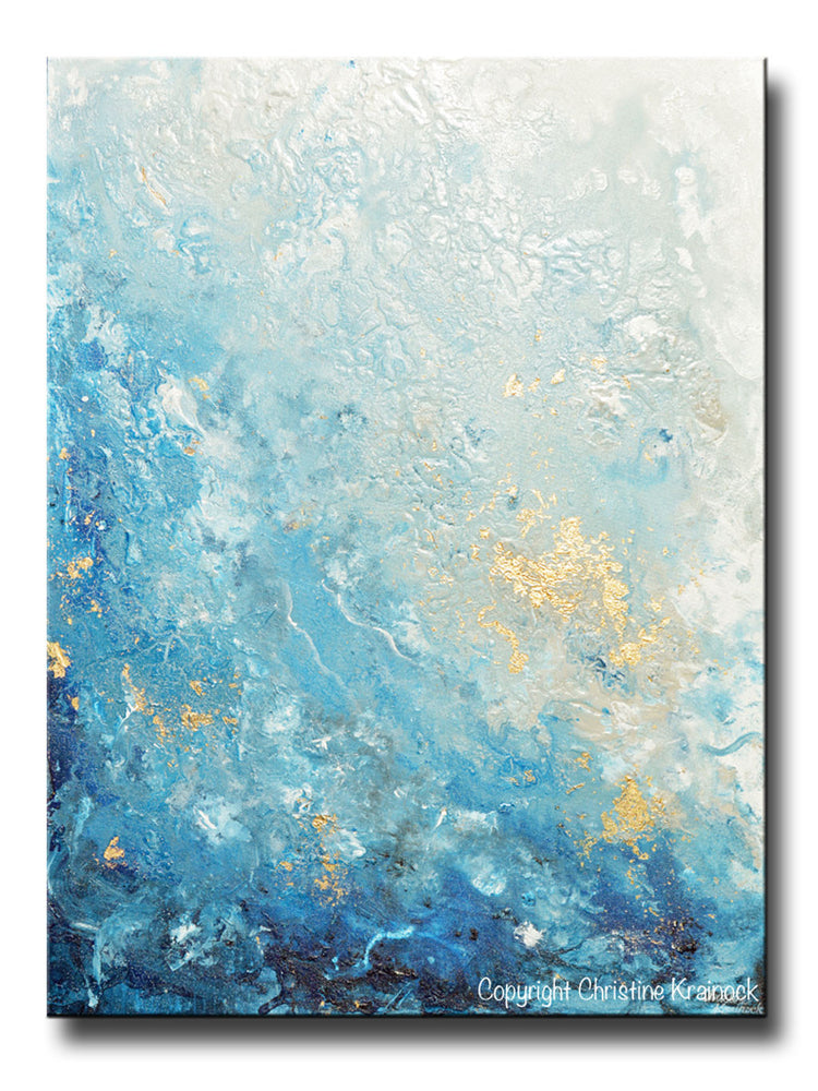 ORIGINAL Art Modern Blue Abstract Painting Navy White Grey Gold Leaf Coastal Decor Wall Art