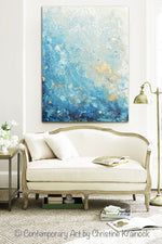 GICLEE PRINT Art Abstract Painting Ocean Blue White Seascape Coastal Large Canvas Prints Wall Art - Christine Krainock Art - Contemporary Art by Christine - 6