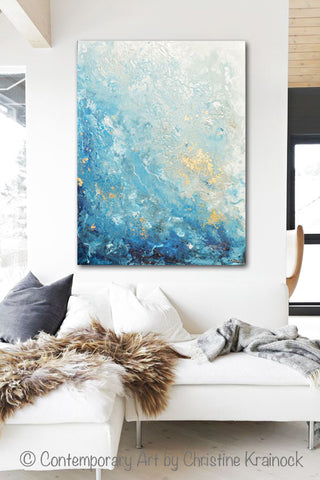 Original Art Modern Blue Abstract Painting Navy White Grey