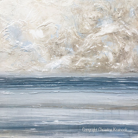 Original art abstract blue white painting textured canvas coastal blue grey beige large wall art decor 36x36