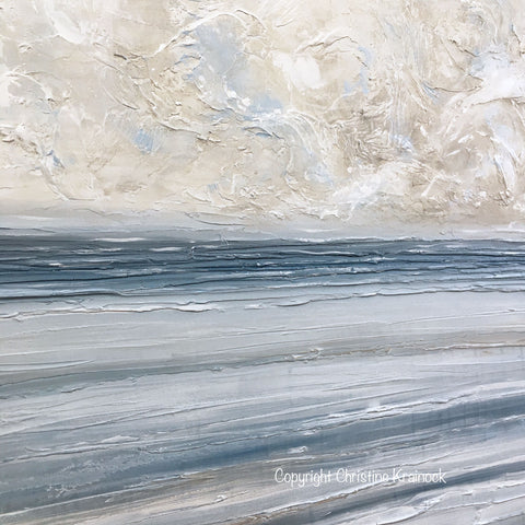 Original Art Abstract Blue White Painting Textured Coastal Wall