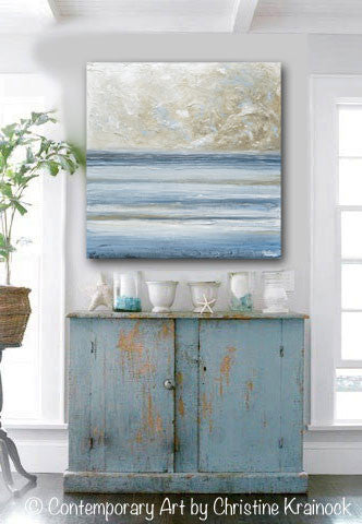 ORIGINAL Art Abstract Blue White Painting Textured Canvas Coastal Blue Grey Beige LARGE Wall Art Decor - Christine Krainock Art - Contemporary Art by Christine - 4