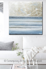 ORIGINAL Art Abstract Blue White Painting Textured Canvas Coastal Blue Grey Beige LARGE Wall Art Decor - Christine Krainock Art - Contemporary Art by Christine - 2