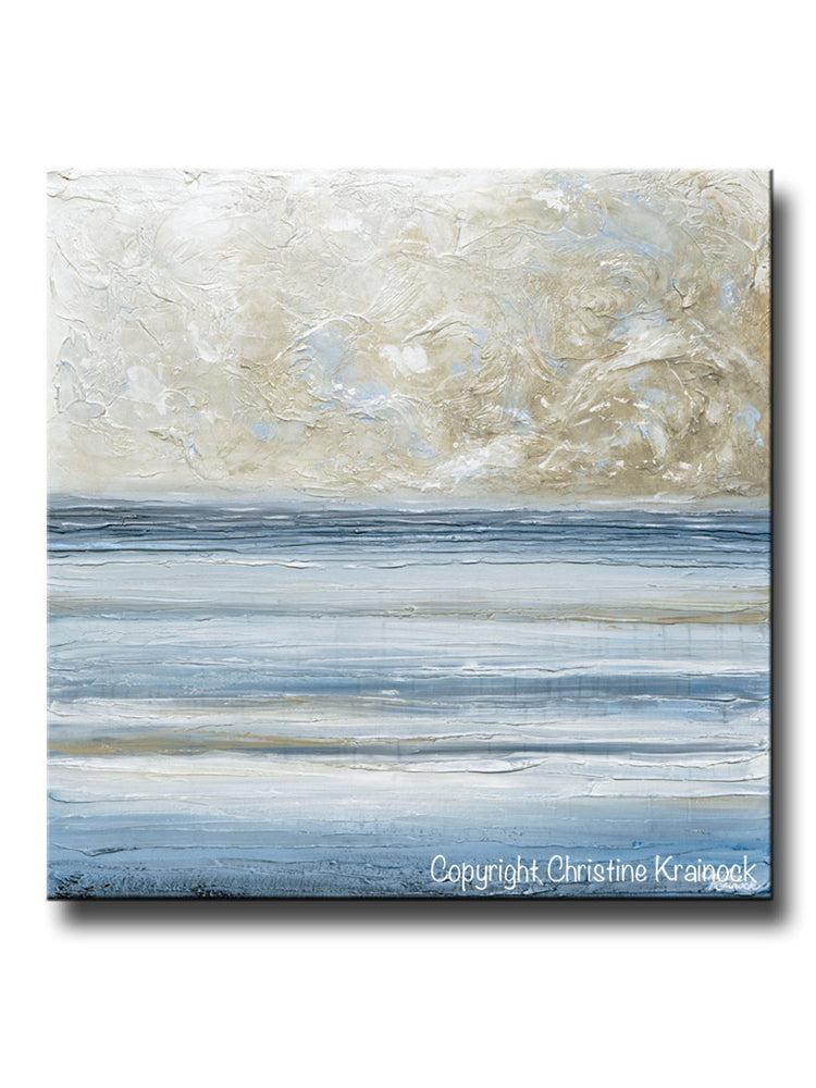 ORIGINAL Art Abstract Blue White Painting Textured Canvas Coastal Blue Grey Beige LARGE Wall Art Decor 36x36""
