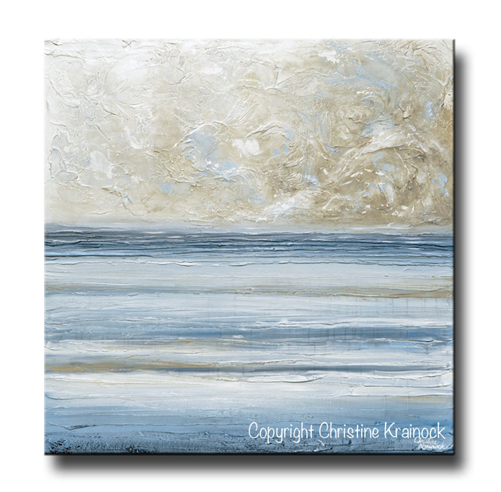 ORIGINAL Art Abstract Blue White Painting Textured Canvas Coastal Blue Grey Beige LARGE Wall Art Decor - Christine Krainock Art - Contemporary Art by Christine - 3