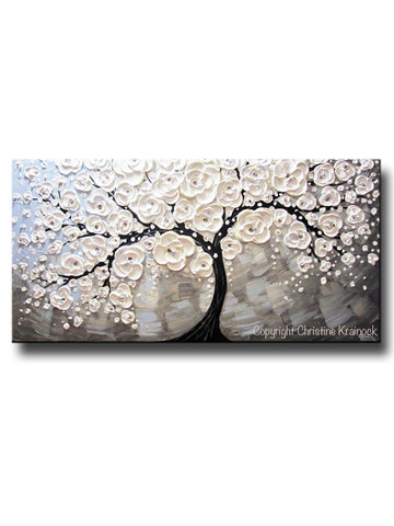 ORIGINAL Art Abstract Painting White Cherry Tree Blossoms Flowers Textured Blue Grey - Christine Krainock Art - Contemporary Art by Christine - 1