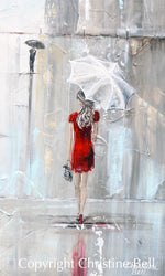 """After the Theater"" ORIGINAL Art Abstract Painting Woman with Umbrella Cityscape 24x30"""