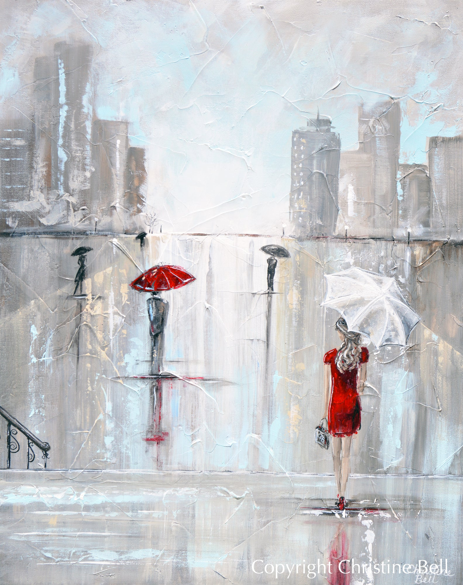 After The Theater Giclee Canvas Print Woman With Umbrella