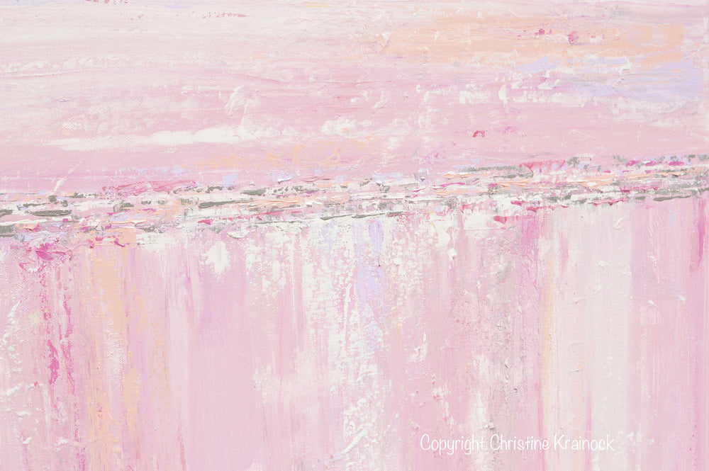 ORIGINAL Art Abstract Painting Pink White Grey Modern Textured Coastal Wall Art Home Decor - Christine Krainock Art - Contemporary Art by Christine - 5